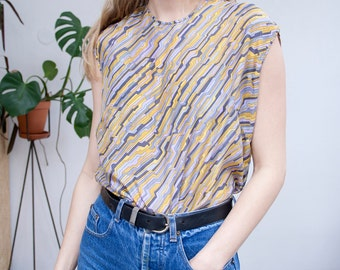 vintage pure silk t-shirt shirt top 90's 80's minimal work geometric lila mustard purple