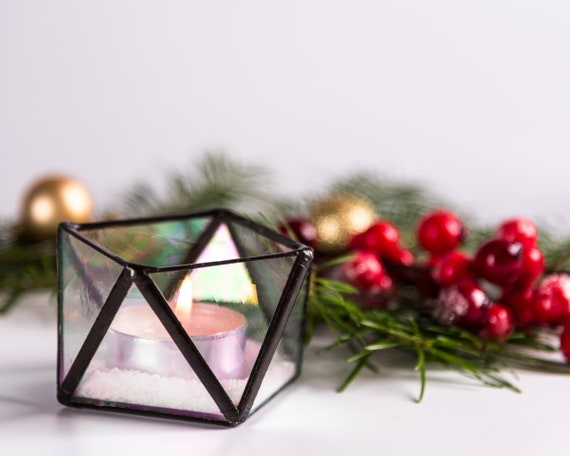 Gold Geometric Candle Holder Small Copper Glass Terrarium Etsy