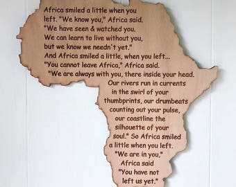 Africa wall plaque, South Africa with poem