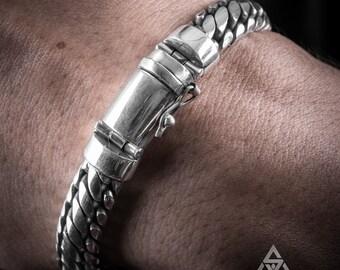 c9749faf7 Woven Snake Mens Bracelet 10mm - SOLID 925 Sterling Silver. Totally Unique