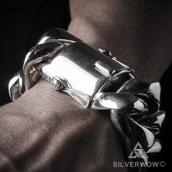 """MEN/'S SOLID 925 STERLING SILVER CUBAN CURB LINK 15MM WIDE 8.5/"""" HEAVY BRACELET"""