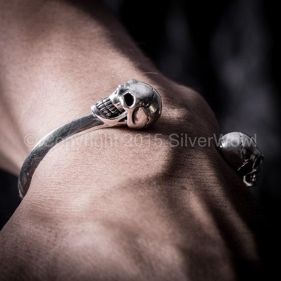 Mens Skull Bangle Cuff Bracelet Biker Gothic Rock Sterling Silver Man Women