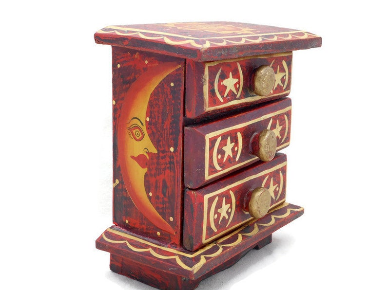 6  34 Inches by 4 12 Inches Cute Artsy Boho Memento Box Red Black and Gold Vintage Wood Jewelry Box Chest w Painted Sun Stars /& Moon