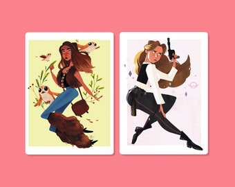 A6 Set Han Solo and Chewbacca Postcards - Human edition Chewie and Fem Han