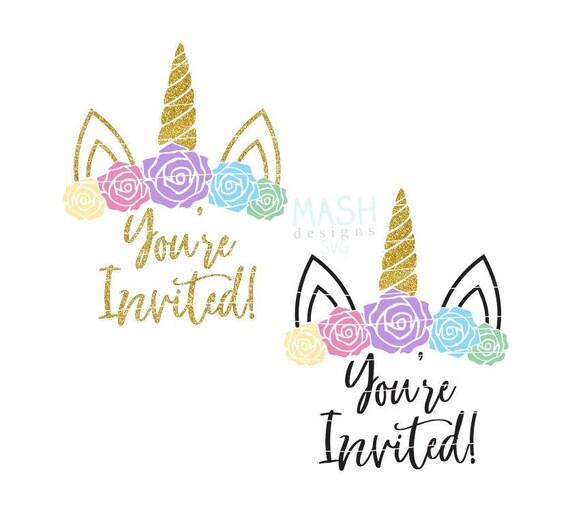You Re Invited Floral Unicorn Svg Unicorn Birthday Etsy