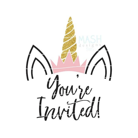 Unicorn Birthday Invitations Svg Bday Invite Png