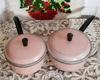 Vintage Baby Pink Enameled Aluminum Club Sauce Pots - Two Sizes -