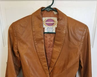 Vintage 70s Women's Leather Cropped Jacket - Size 9 - Nordstrom Brass Plum