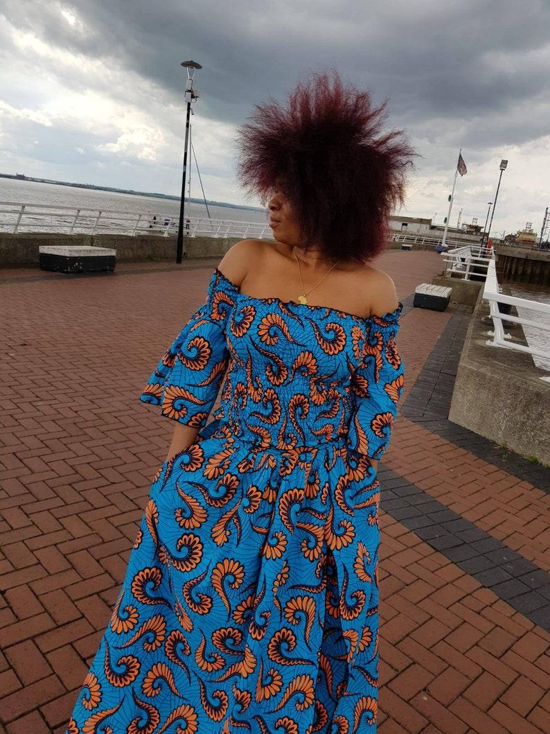 African print smokeyshearing off shoulder tube top