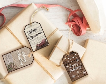 Rustic Burlap Christmas Gift Tags, 3 Holiday Gift Tag Styles