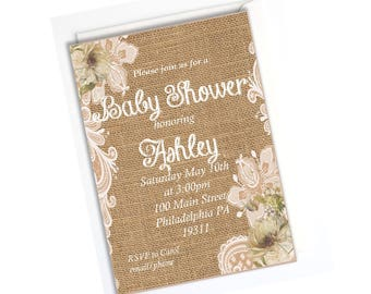Burlap Rustic Baby Shower Invitation, Rustic Baby Shower Invitation, Custom  Printable Invite