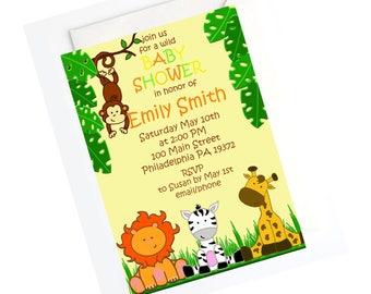 JUNGLE INVITATION, Jungle Baby Shower Invitation, Safari Baby Shower,  Jungle Theme