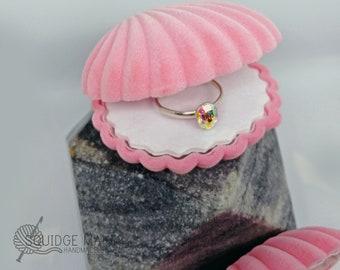 White Mermaid velvet shell ring case  gift  engagement ring box  jewelry box  treasure  proposal wedding ring box clam shell ring box