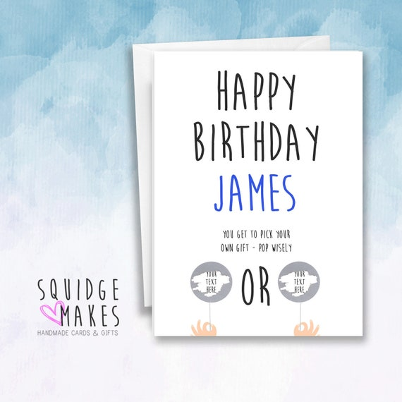 Surprise Personalised Mens Birthday Card Scratchcard Gift Card Dad husband