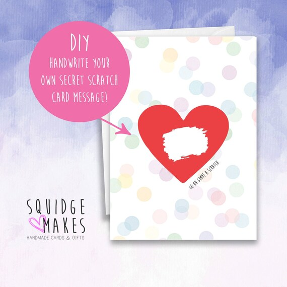 Surprise Scratch card personalised pregnancy birthday wedding announcement heart