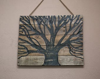 Pallet Wood Wall Art with a Tree Carved into it, Pallet wood Tree, Home Decor, Reclaimed wood Art, Pallet Wood Art, Wood Carvings, Tree Art