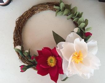 Paper flower wreath etsy flower wreath handmade paper flower wreath crepe paper flower door hanging wreath wedding wreath wedding decoration wreath mightylinksfo