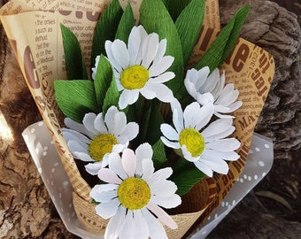white daisy bouquet etsy