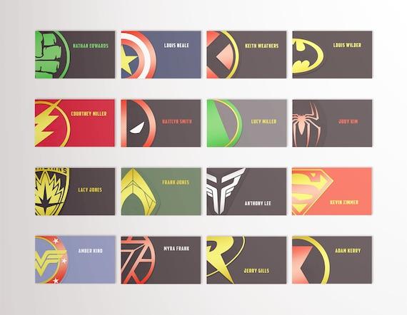 Superhero Place Cards Superhero Escort Cards Hulk Batman