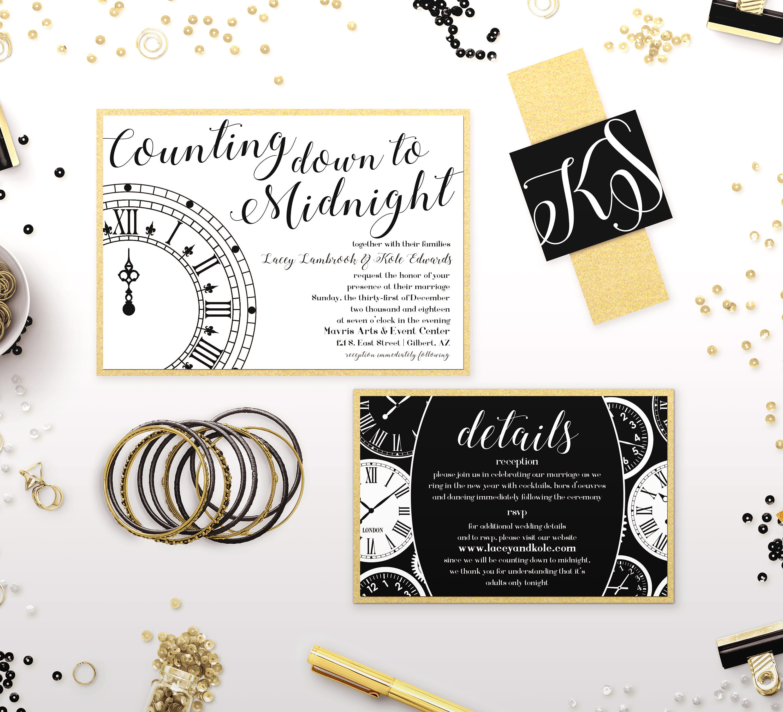 New Years Eve Wedding Invitations Black & Gold Glitter