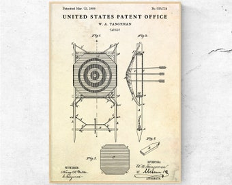 archery target vintage patent print  archery wall art  hunting decor   blueprint poster  hunter gift