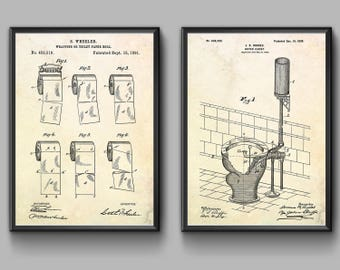 Toilet paper poster toilet paper patent print bathroom toilet patent prints set of 2 posters watercloset print toilet paper print toilet blueprint toilet wall art toilet sign bathroom decor malvernweather Images