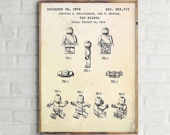 Legoman Toy Figure Patent Print Blueprint