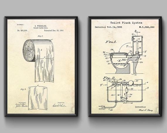 Affiche En Papier Hygiénique Imprimer De Brevet De Toilette Art De Mur De Toilette Affiche De Plan De Toilette Décor Dart De Mur De Salle De
