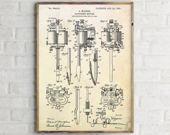 Tattooing Device Patent Print. Tattoo Device Patent Poster. Tattooing Device Vintage Art. Tattoo Blueprint. Tattoo Wall Art. Tattoo Prints.