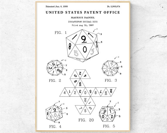 20 Sided Dice Patent Print  DnD Icosahedron Decimal Dice Blueprint Poster   Dungeons and Dragons Wall Art