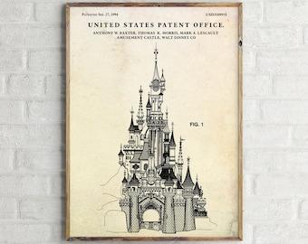 Disney Castle Patent Print. Disney Castle Poster. Nursery Wall Decor. Disney  Wall Art