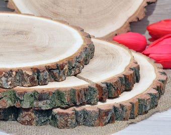 12''-13'' OAK wood slices for wedding centerpieces Wood cake stand rustic Wooden cupcake stands Rustic baby shower decorations Wood slabs