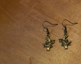 White Rabbit Earrings Antique Brass Drop Wires