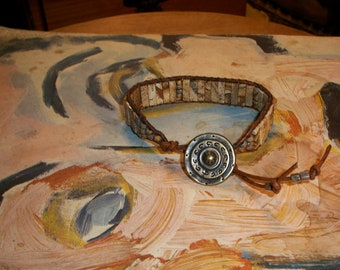 Rustic Men's Jasper Wrap Leather Bracelet With Picasso Beads