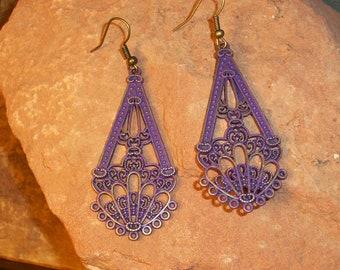 Purple Hand Altered Chandelier Earrings