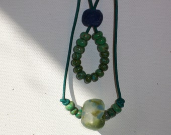 Choker/Necklace African & Aged Picasso Glass Beads On Turquoise Leather