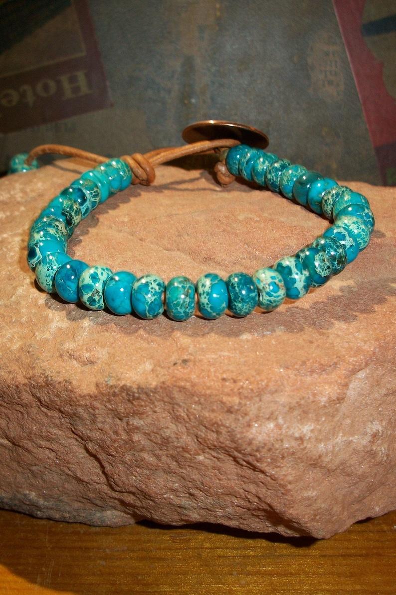 Men/'s Blue Sea Sediment Bead Leather Bracelet