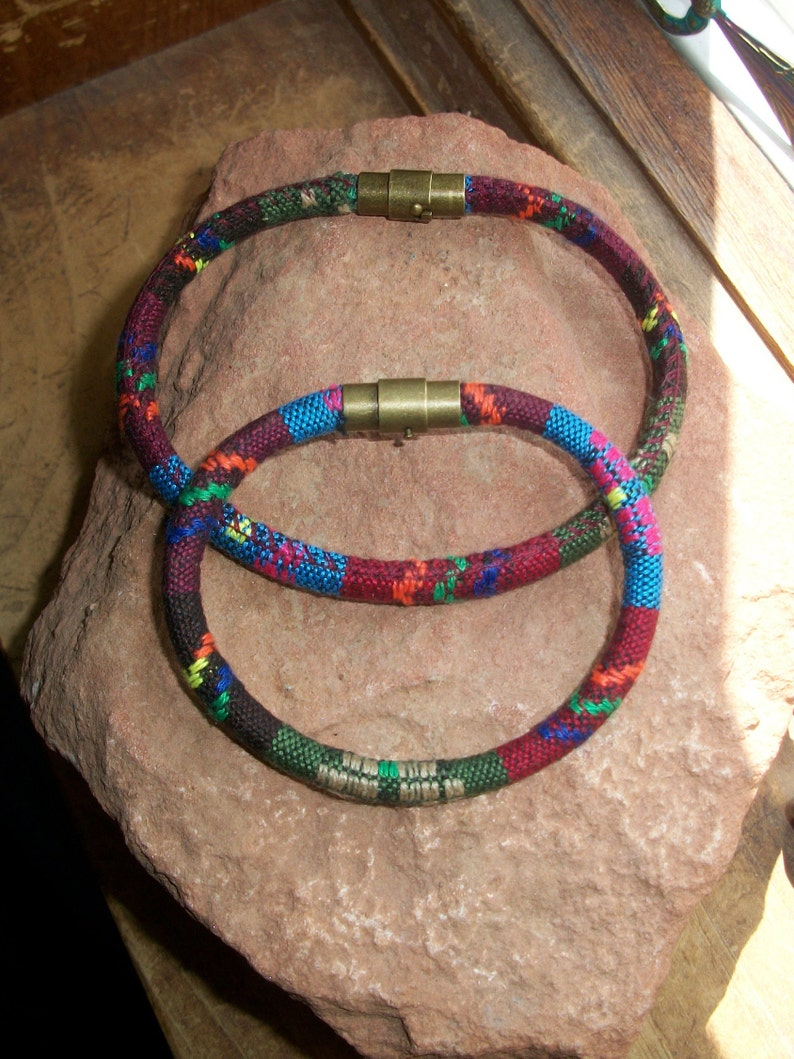 Two Bohemian Cotton Cord Bracelet With Magnetic clasp