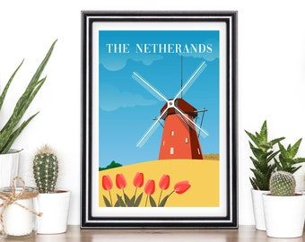 VINTAGE NETHERLANDS ROUTE SOUTHERN PACIFIC TRAVEL A4 POSTER PRINT