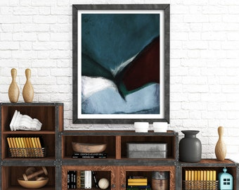 Petrol blue abstract art print modern wall art contemporary wall decor abstract painting grey abstract art modern art contemporary art