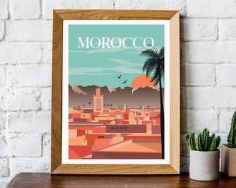 Retro Morocco travel print, retro Morocco poster, Morocco print, Morocco wall art, travel wall art, retro wall art,