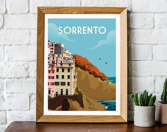 Sorrento travel print, retro Sorrento travel poster, Sorrento Poster, Sorrento print, Italy print, Italy travel wall art, retro wall art,