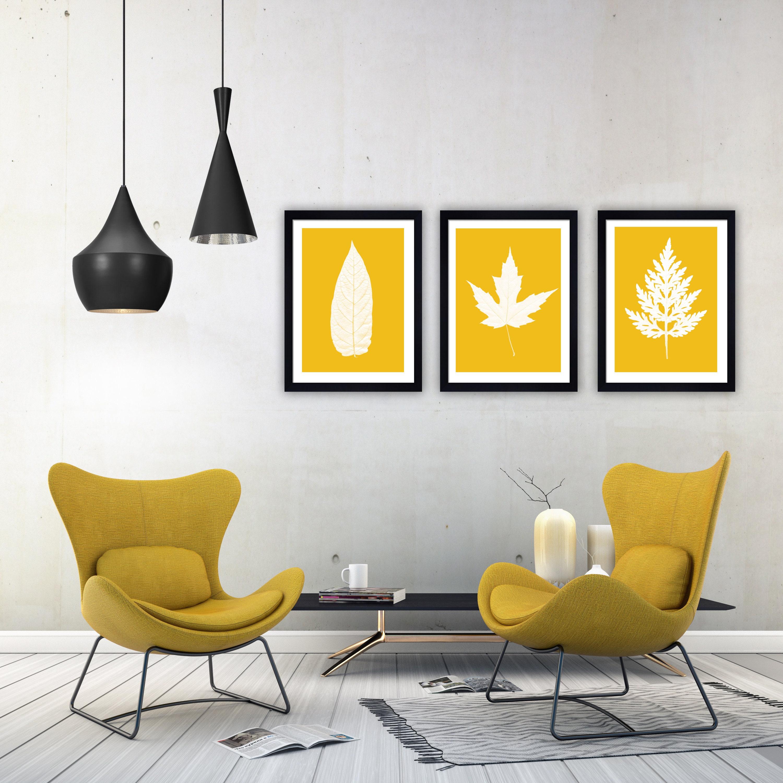 minimalist wall art leaves print scandinavian wall decor   Etsy