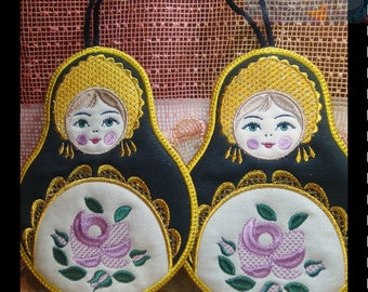 Napkin for hot Embroidery designs Nested doll Napkin for hot machine embroidery Trivets Cotton Trivets Russia  Digital embroidery Kitchen