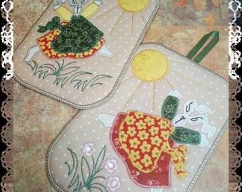 """Easter gift Pot Holders mud rug Trivets Cotton Trivets Hot Pads Trivets """"Tilde rabbit"""" - Embroidery Machine Patterns Design Easter gift"""