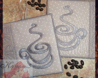 "Pot Holders mud rug Trivets Cotton Trivets Hot Pads Trivets digital embroidery ""Coffee set""  the embroidery machine Templates design"