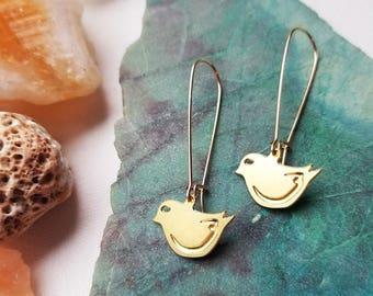 Little gold bird Earrings | Maverick Jewelry