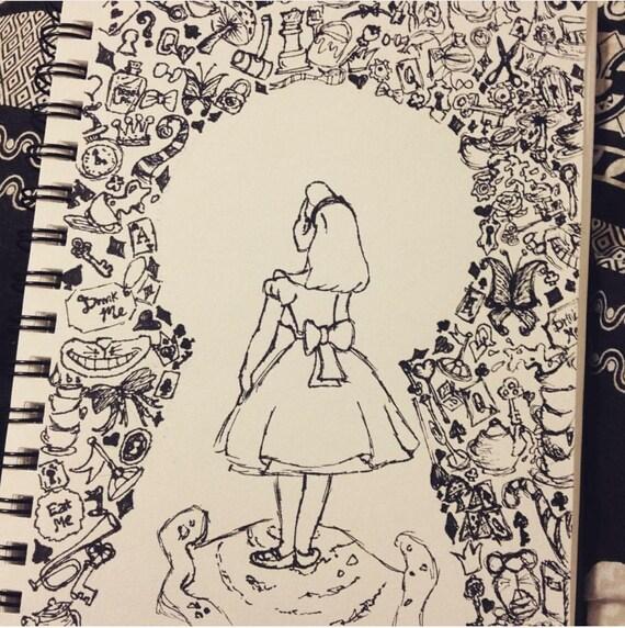 A5 Alice In Wonderland Sketch Drawing Etsy