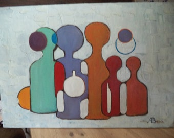 painting oil on canvas Vintage 'the bottles'