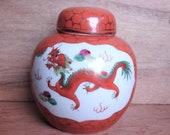 Chinese Zhongguo Jingdezhen Ginger Jar Featuring Dragon Phoenix Vintage Hand Painted Porcelain